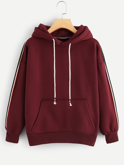 d7d5bc173b87f Striped Tape Side Pocket Detail Hoodie