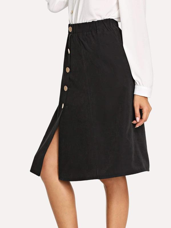 Button Up Flare Skirt