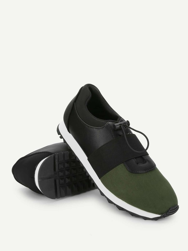Two Tone Low Top Slip On Velcro Sneakers