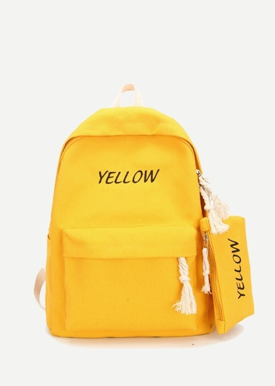 3fc0245ad7 Slogan Embroidered Backpack With Pencil Case