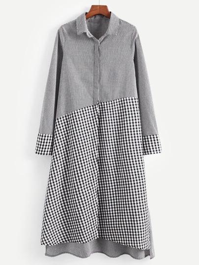 d929e4cc917 Gingham Plaid Slit Side High Low Shirt Dress