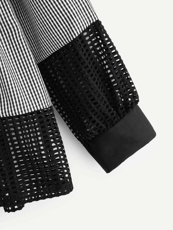 d2f5dc56509d Blusa bajo fruncido de cuadros con malla en contraste-Spanish  SheIn(Sheinside)