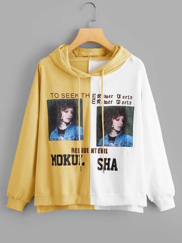 Figure Print Color Block Sweatshirt by Sheinside