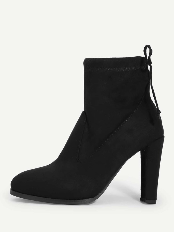 Lace Up Back Chunky Heeled Boots by Sheinside