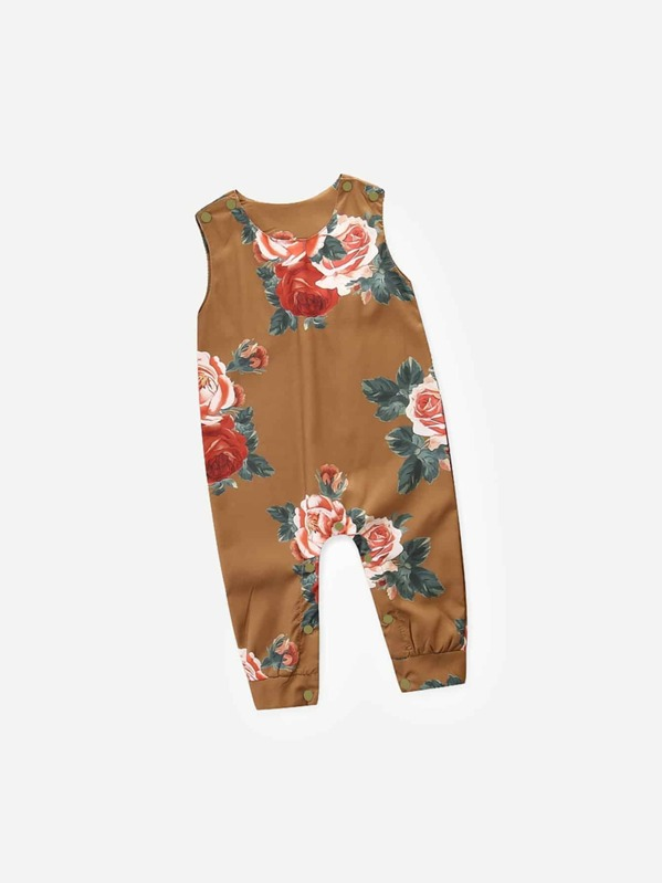 Toddler Girls Baby Girl Floral Print Romper by Sheinside