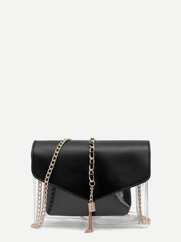 Metal Tassel Clear Bag With Inner Pouch, Black