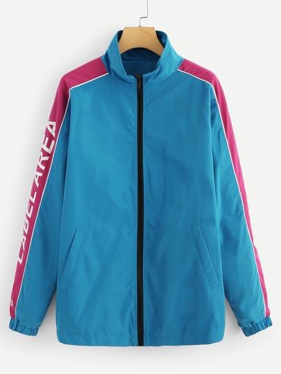 dbaa572706 Men Zip Front Letter Print Jacket   SHEIN