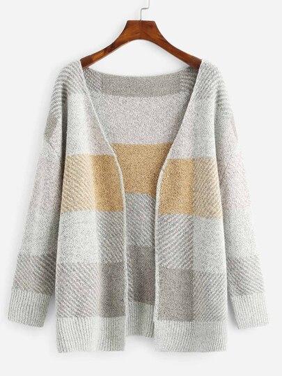 Chaqueta suéter de parte delantera abierta con costura c9290a59afd4
