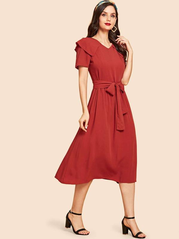 Zip Back Collar Short Sleeve Dress  d65bb99805f15