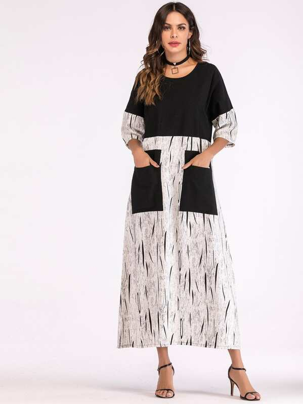 Pocket Patch Spliced Maxi Tunic Dress, Black and white