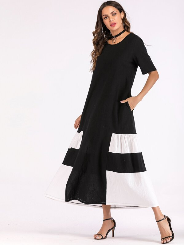 Cut & Sew Maxi Tent Dress, Black and white