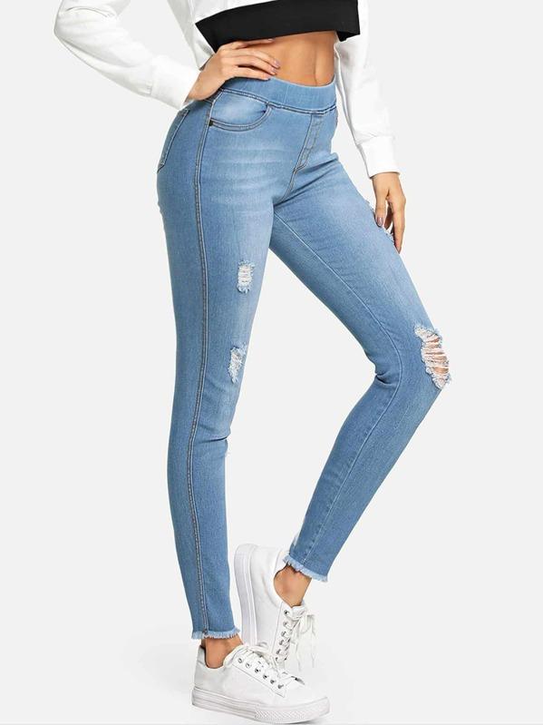 Tillfällig Slätt Rev Blå Jeans -Svenska SHEIN(SHEINSIDE) db820267c456a