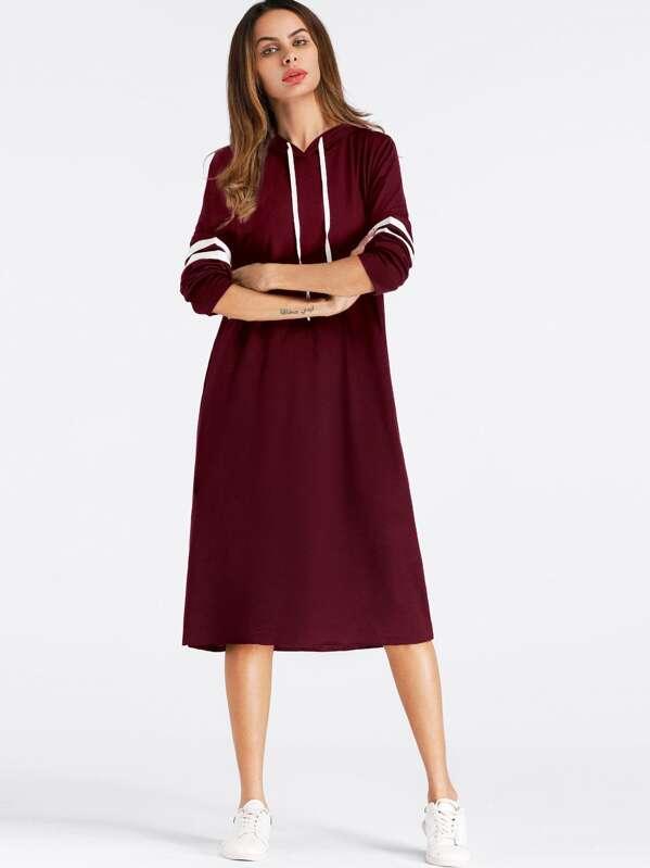 Drawstring Hoodie Sweatshirt Dress by Sheinside