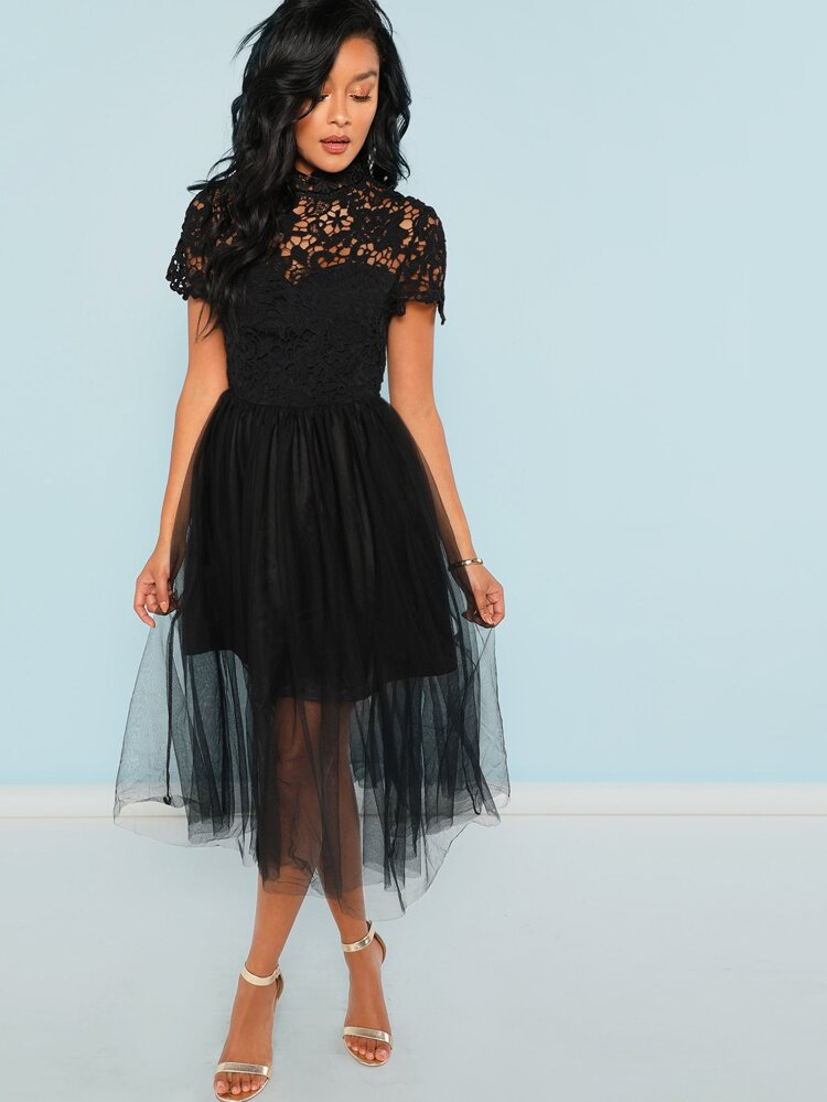 3588e72dc7 Guipure Lace Top Tulle Dress