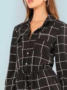 9e57636be100 Button Front Drawstring Plaid Jumpsuit