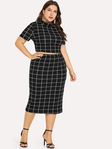 1661d219914 Plus Mock Neck Crop Grid Tee   Skirt Set