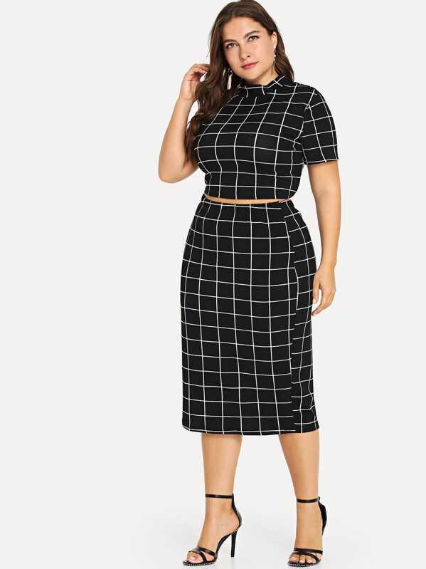 e9ea2b6a975f Plus Mock Neck Crop Grid Tee & Skirt Set -SheIn(Sheinside)