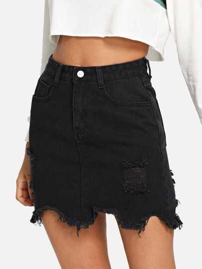 ddfb19d098 Raw Hem Ripped Denim Skirt