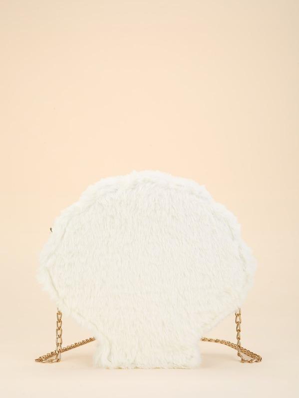 Faux Fur Chain Crossbody Bag by Sheinside