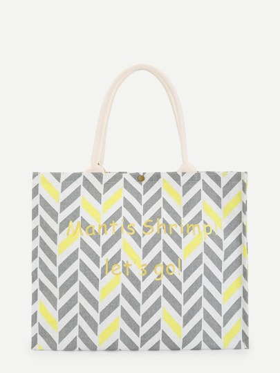 Letter and Geometric Pattern Tote Bag 45063d3f88d01
