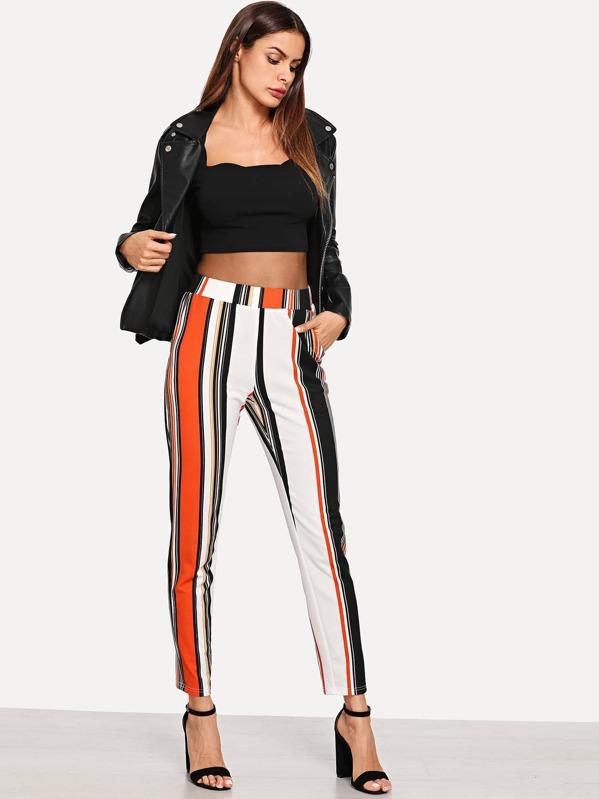 Pantalones de rayas con bolsillo oblicuo de cintura ancha  e932c317b10