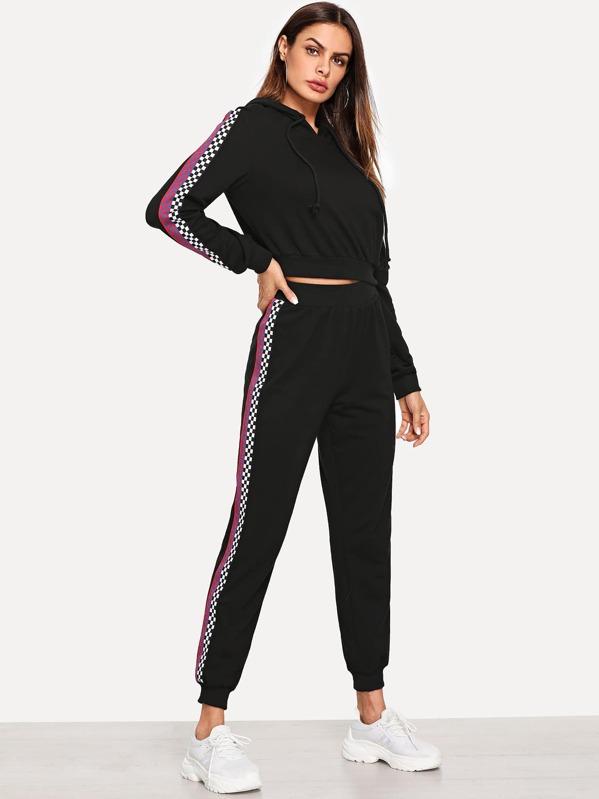 Plaid Detail Hoodie Top & Pants Set by Shein