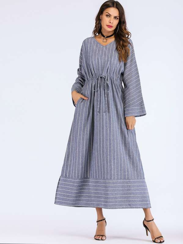 Striped Drawstring Waist Slit Side Dress, Blue