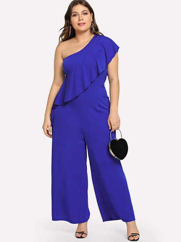 Plus Flounce One Shoulder Wide Leg Solid Jumpsuit by Shein