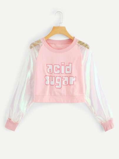 a0c241ab82900 Mesh Contrast Letter Print Crop Sweatshirt
