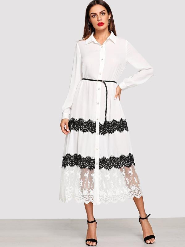 c5f3e94de51e0 Eyelash Lace Trim Embroidered Mesh Hem Shirt Dress -SheIn(Sheinside)