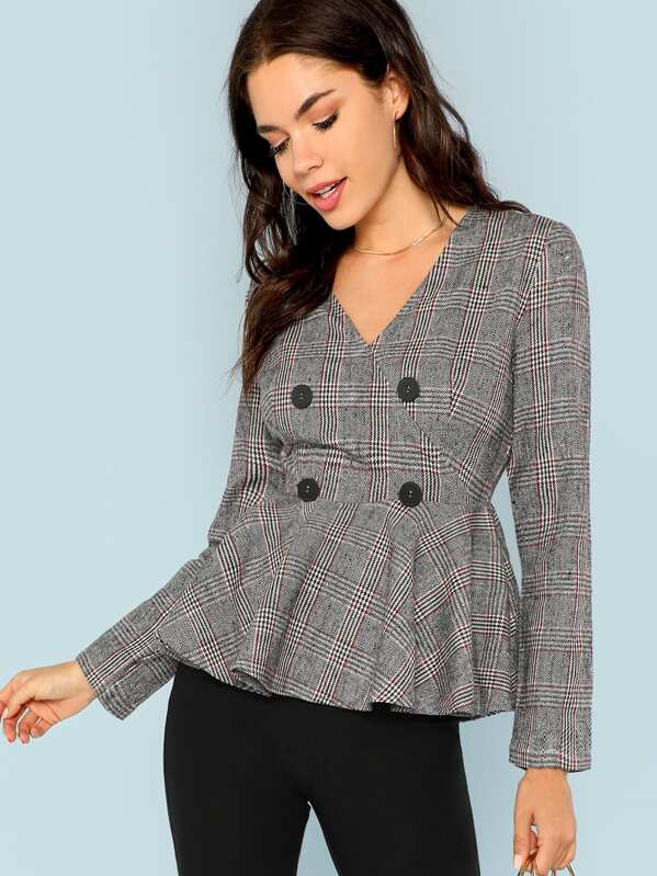 Double Button V-Neck Plaid Blazer, Grey, Aarika Wolf