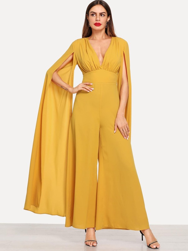 Split Extra Long Sleeve Palazzo Jumpsuit Sheinsheinside