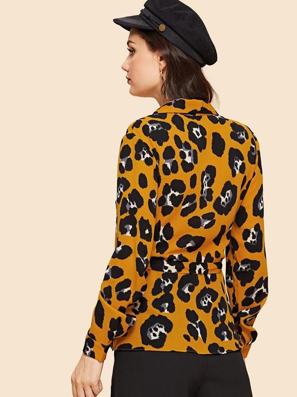 9652369a18 Wrap Knot Leopard Print Top