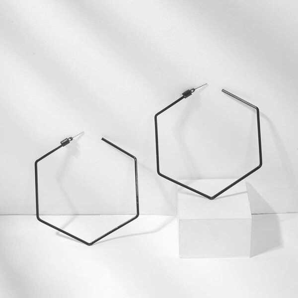 Open Geometric Shaped Hoop Earrings 1pair, Black