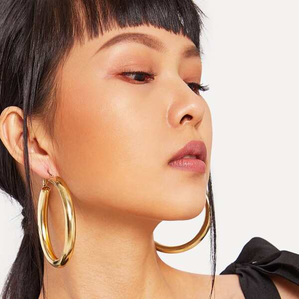 Open Metal Hoop Earrings 1pair, Gold