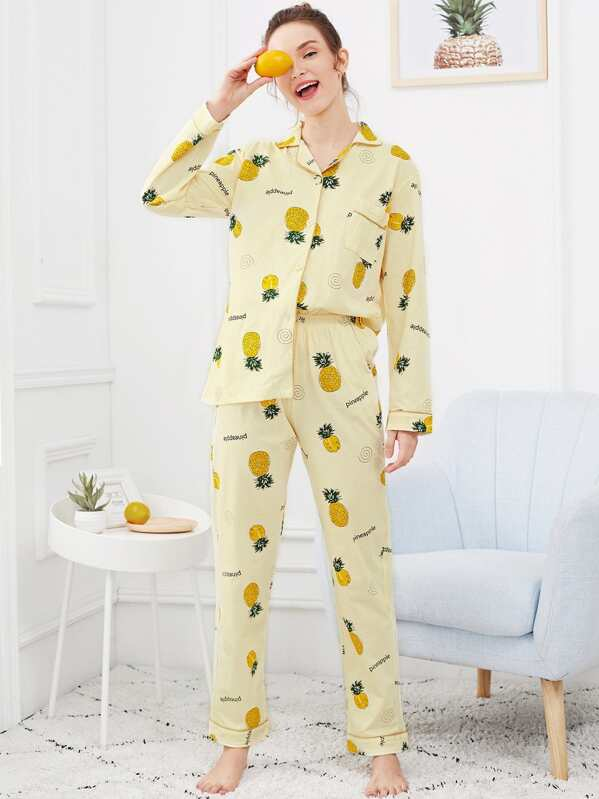 Pineapple Print Button Up Pajama Set