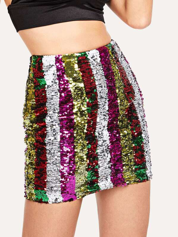 Contrast Sequin Bodycon Skirt by Shein