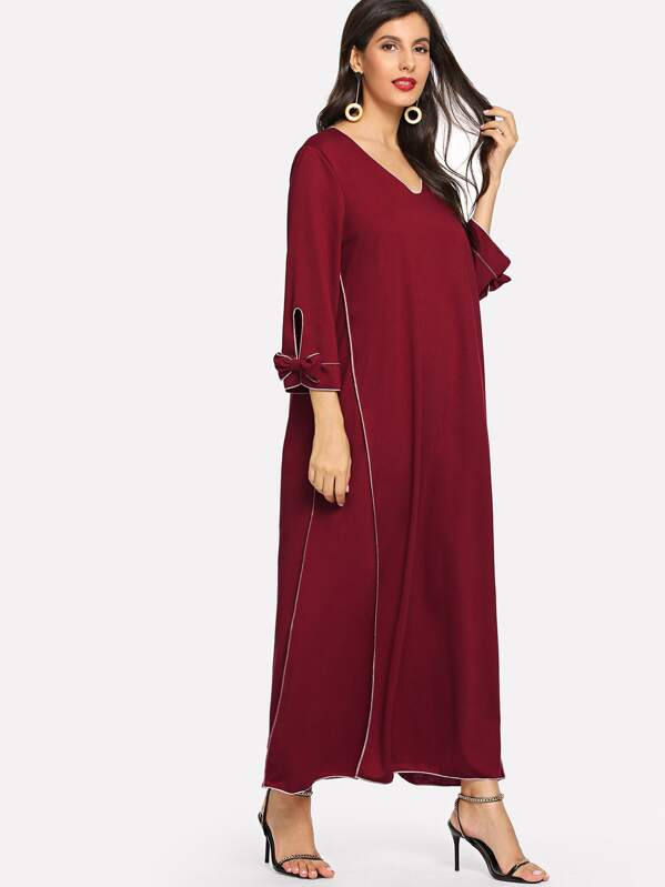 Bow Tie Cuff Piping Trim Maxi Dress, Burgundy