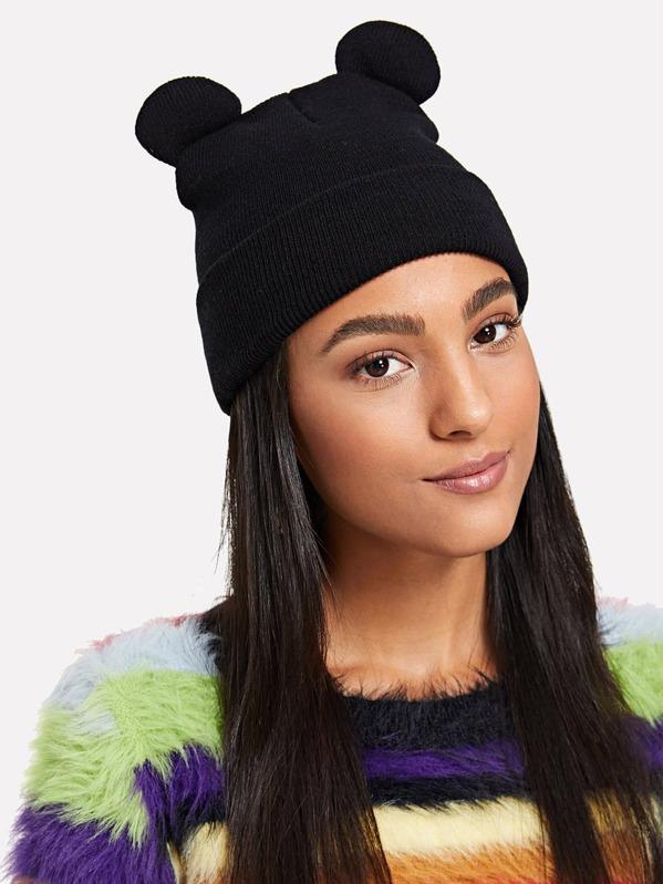 4a3ab1252eebb Cute Ear Knit Beanie Hat -SHEIN(SHEINSIDE)
