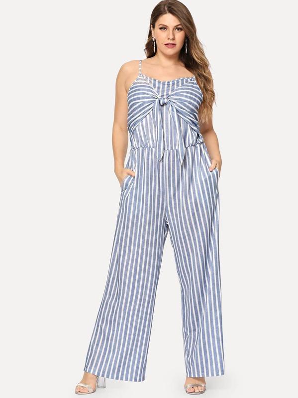 282e10d20e9f Plus Knot Front Striped Cami Jumpsuit