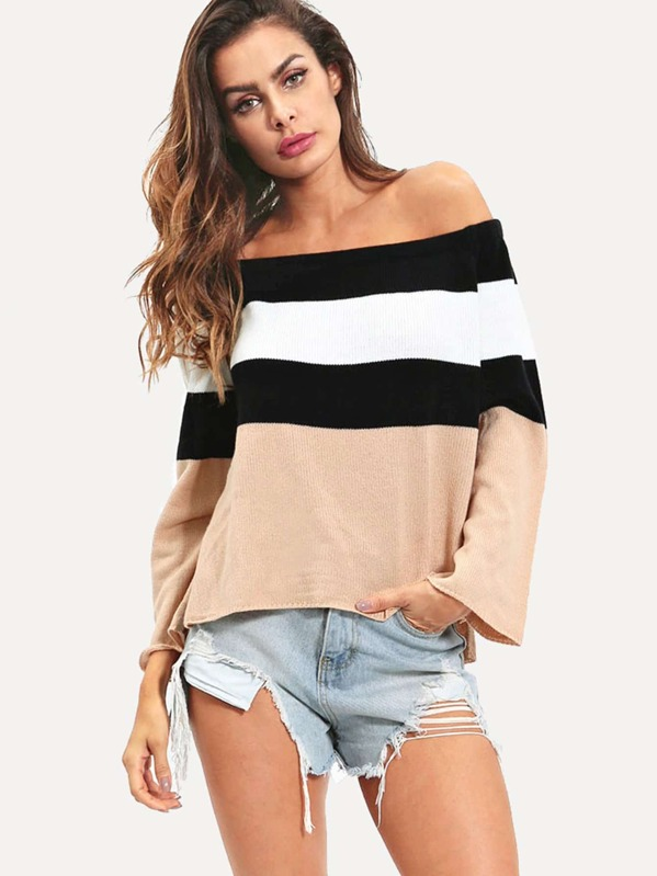 Off The Shoulder Colorblock Jumper by Sheinside
