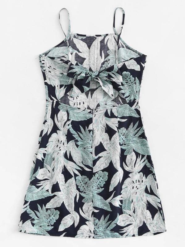 Jungle Leaf Print Button Detail Cami Dress  841486f14