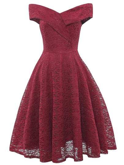 b9ee94dbd117 Off-Shoulder Flare Lace Dress
