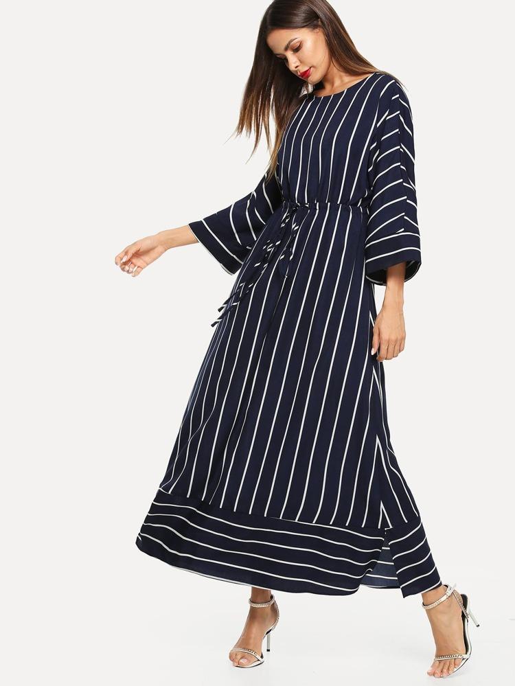 2750d6662dc6 Vertical Striped Drawstring Waist Maxi Dress   SHEIN