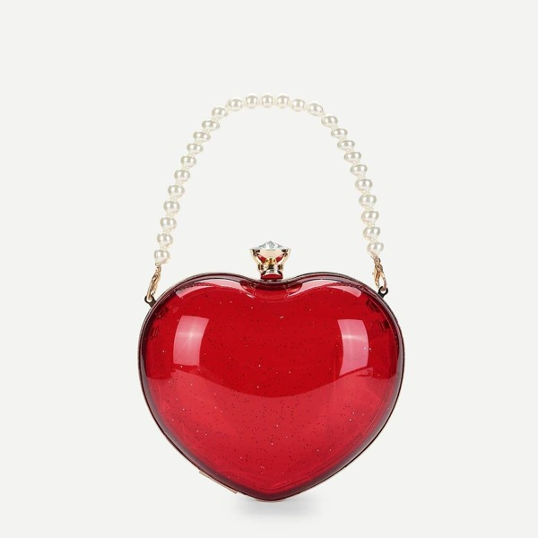 Heart Shaped Chain Bag With Pearl Handle