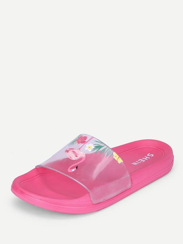 72064be59 Cheap Flamingo Print Flat Slippers for sale Australia