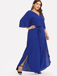71334840730 Plus V-Neck Solid Top   Flare Wide Leg Pants Set