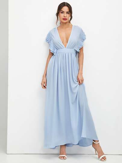 Plunging Neck Ruffle Sleeve Prom Dress b5d287660