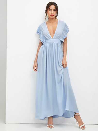 7006c660d8 Plunging Neck Ruffle Sleeve Prom Dress