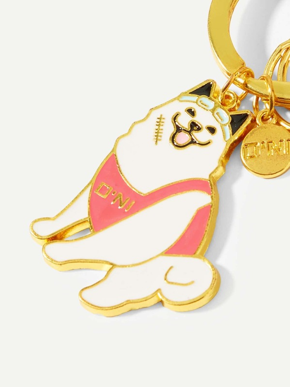 55ca9deb2e Smile Dog Decorated Ring Keychain -SHEIN(SHEINSIDE)